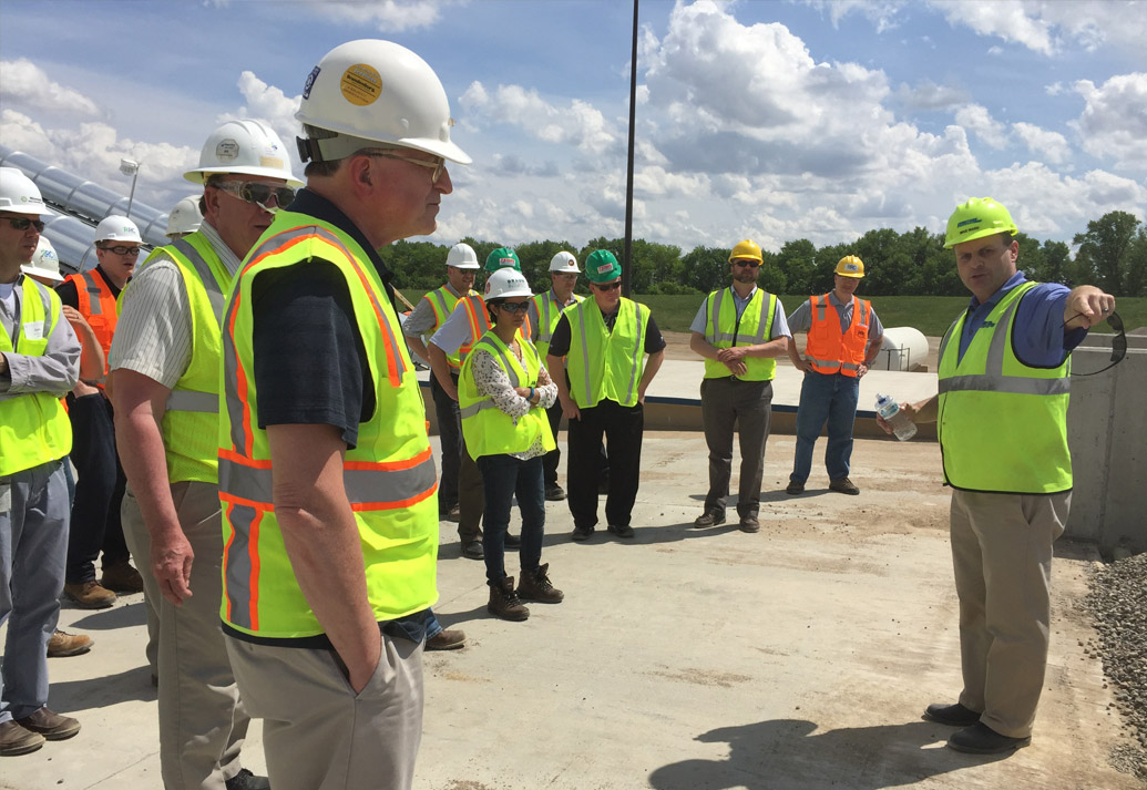 Demonstration during group tour of Dakota County Construction