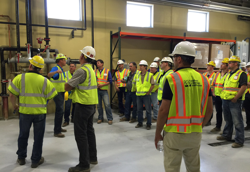 Inside picture of group taking a tour of Dakota County Construction